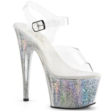 "Load image into Gallery viewer, ADORE-708HB Sexy 7"" Heel Clear Silver Hologram Sexy Shoes-Pleaser- Sexy Shoes"
