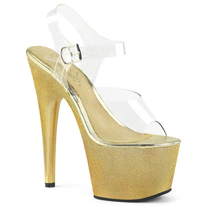 ADORE-708HG Pleaser Sexy Shoes 7 Inch Holographic Glitter Dust Ankle Strap Platforms Sandals