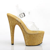 ADORE-708HMG Sexy Shoes 7 Inch Heel Holographic Glitter Platforms Ankle Strap Sandals