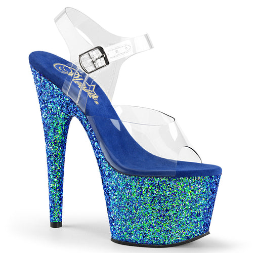 ADORE-708LG Transparent Blue Glitter Pole Dance Sandals