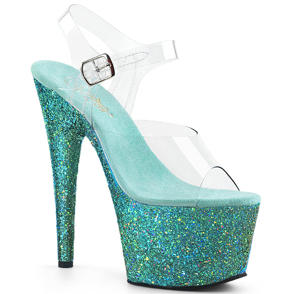 ADORE-708LG Pleaser Sexy Shoes 7 Inch Holographic Glitter Ankle Strap Platforms Sandals