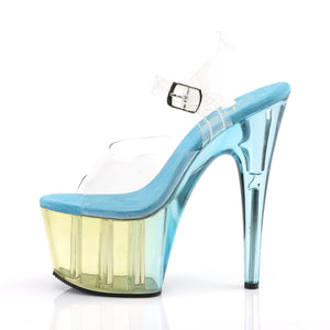 ADORE-708MCT Heels ClearLight Blue Tinted Pole Dancing Shoes