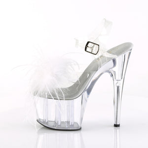 "ADORE-708MF 7"" Heel Clear & Black Feathers Pole Dancer Shoes"