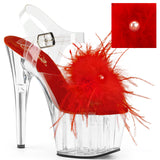 ADORE-708MF Pleaser Sexy Shoes 7 Inch Marabou Feather Puffs Ankle Strap Platforms Sandals
