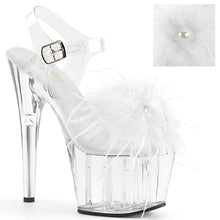 "Load image into Gallery viewer, ADORE-708MF 7"" Heel Clear & Black Feathers Pole Dancer Shoes"