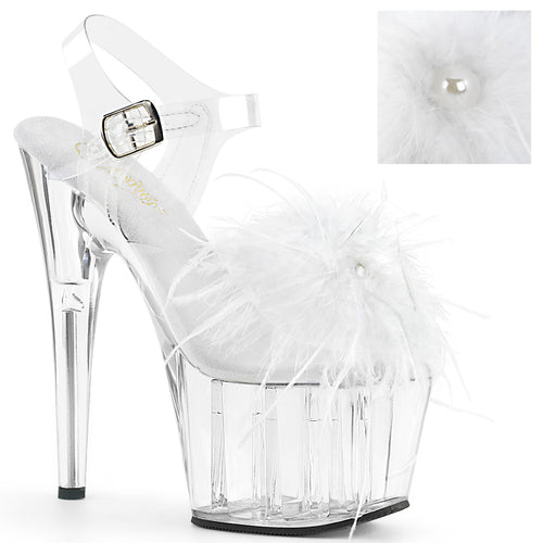ADORE-708MF Pleaser Pole Dance Shoes 7 Inch Marabou Feather Puffs Ankle Strap Platforms Sandals