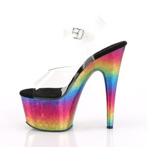 ADORE-708MRB Sexy Clear Metallic Rainbow Exotic Dancing Shoes