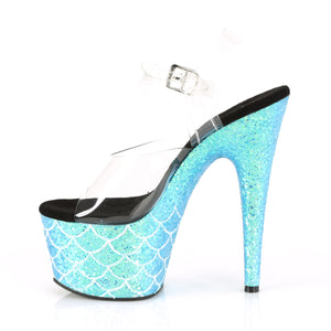 "ADORE-708MSLG Sexy 7"" Heel Clear Aqua Dancing Shoes"