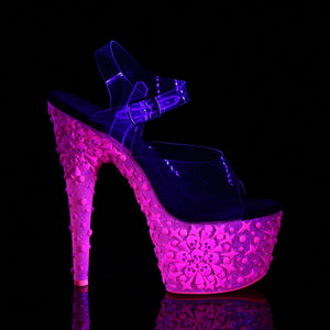 Sexy ADORE-708NSK Pleaser Sexy Shoes 7 Inch UV Neon Skull Heel Ankle Strap Platforms Sandals  Pleaser - Miss Hollywood - Sexy Shoes