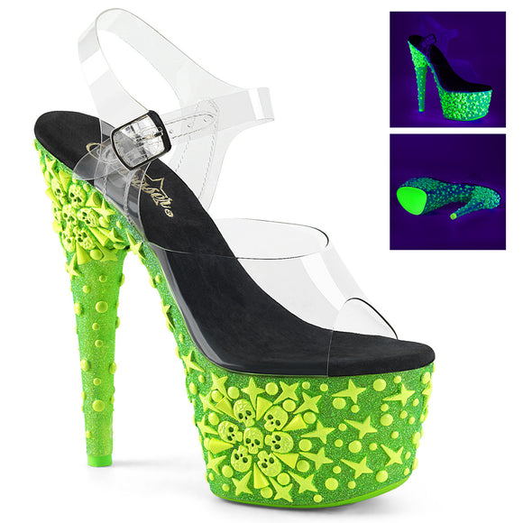 ADORE-708NSK Pleaser Sexy Shoes 7 Inch UV Neon Skull Heel Ankle Strap Platforms Sandals
