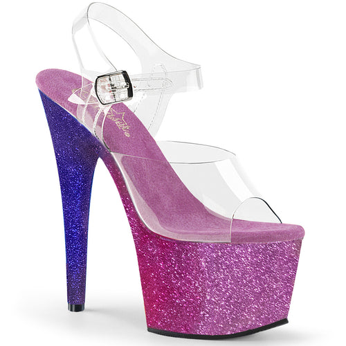 ADORE-708OMBRE 7 Inch Heel Clear Fuchsia Blue Fetish Sandals