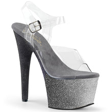 Load image into Gallery viewer, ADORE-708OMBRE 7 Inch Heel Clear Silver-Black Fetish Sandals