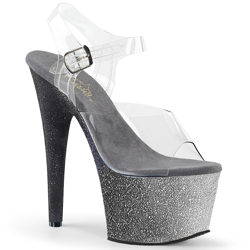 ADORE-708OMBRE 7 Inch Heel Clear Silver-Black Fetish Sandals