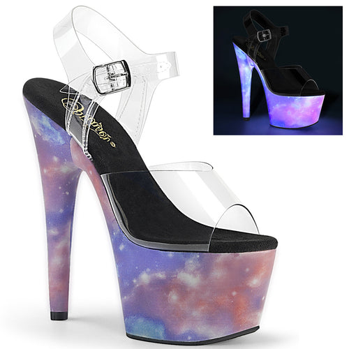 ADORE-708REFL 7 Inch Heel Clear Purple-Blue Fetish Sandals