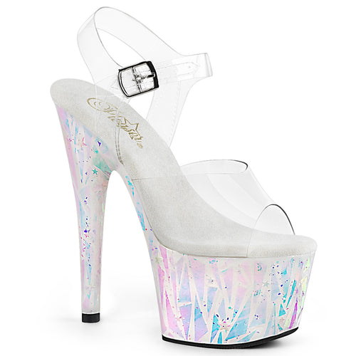 ADORE-708SPLA-2 7 Inch Clear White-Opal Holo Fetish Sandals