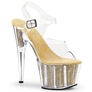 ADORE-708SRS Sexy Pleaser Shoes Bling Rhinestone Filled Platform Ankle Strap High Heels - Strippers Shoes UK