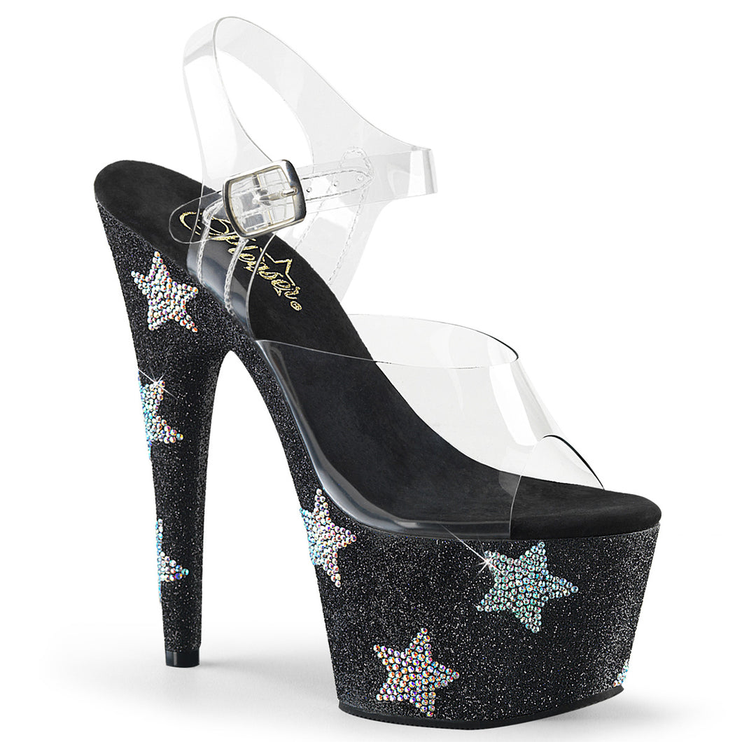 ADORE-708STAR 7 Inch Clear & Black Glitter Pole Dancer Shoes