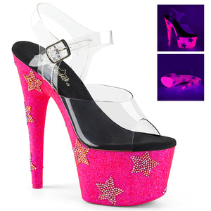 "ADORE-708STAR 7"" Heel Clear and Neon Hot Pink Sexy Shoes"