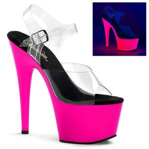 "ADORE-708UV 7"" Heel Clear Neon Pink Pole Dancing Shoes"