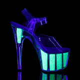 ADORE-708UVG Sexy UV Neon Pole Dancing Glitter Platform Shoes