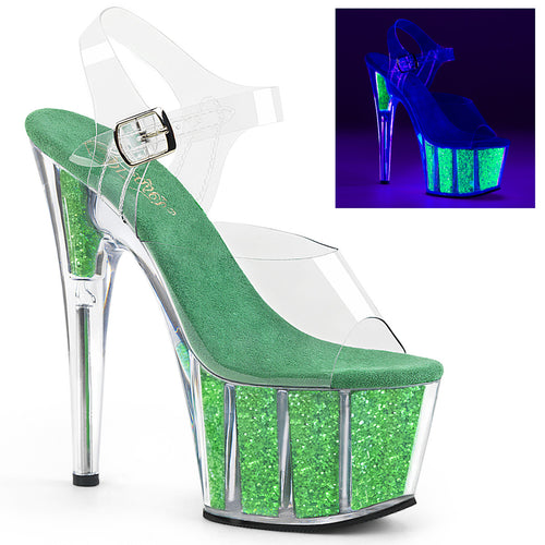 ADORE-708UVG 7 Inch Heel Clear Neon Green Pole Dancing Shoes