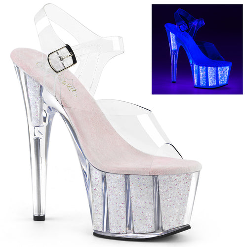 ADORE-708UVG 7 Inch Clear Neon Opal Glitter Pole Dancer Shoe