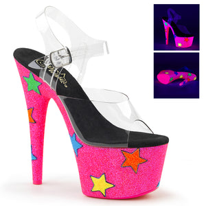 "ADORE-708UVGSTR 7"" Heel Clear Neon Pink Glitter Sexy Shoes"