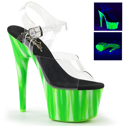 ADORE-708UVP 7 Inch Heel Clear Candy Green Pole Dancing Shoe
