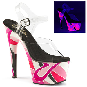 "ADORE-708UVR 7"" Heel Clear & Pink Multi Pole Dancer Platform-Pleaser-Miss Hollywood Sexy Shoes"