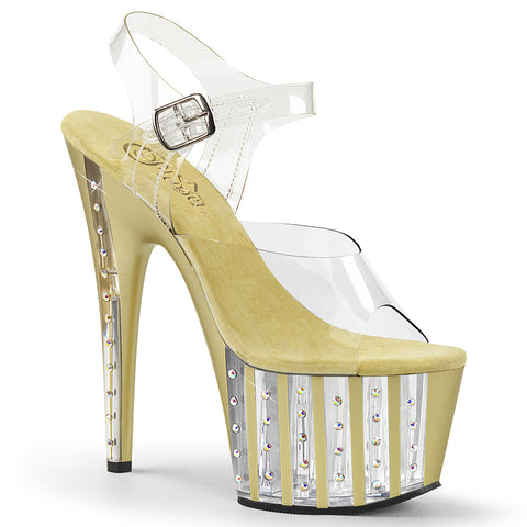 ADORE-708VLRS Pleaser Sexy Shoes 7 Inch Rhinestone Lined Heel Ankle Strap Platforms Sandals