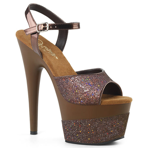 ADORE-709-2G 7 Inch Coffee Multi Glitter Pole Dancer Shoes