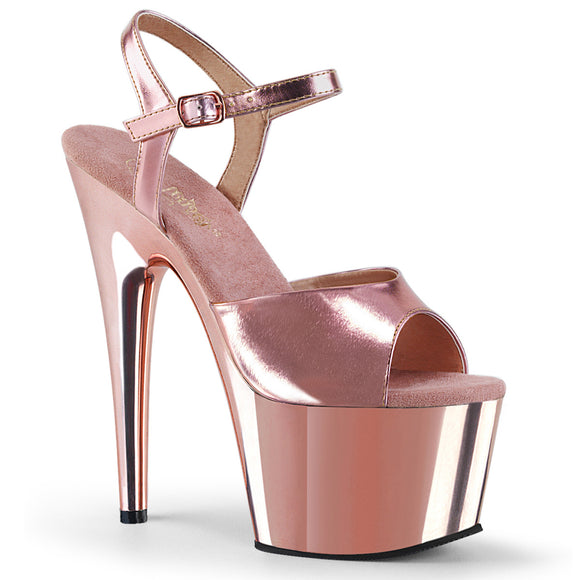 ADORE-709 Pleaser Sexy Shoes 7 Inch Chrome Stiletto Heel Ankle Strap Platforms Sandals