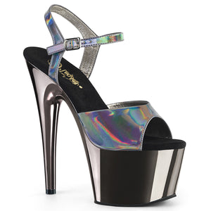 ADORE-709HGCH Pleaser Sexy Shoes 7 Inch Chrome Stiletto Heel Ankle Strap Platforms Sandals