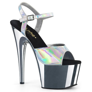 Sexy ADORE-709HGCH Pleaser Sexy Shoes 7 Inch Chrome Stiletto Heel Ankle Strap Platforms Sandals  Pleaser - Miss Hollywood - Sexy Shoes