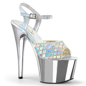 ADORE-709MMRS Black Sexy Shoes 7 Inch Heel Chrome Platforms Ankle Strap Rhinestone Mermaid Sandals for Strippers