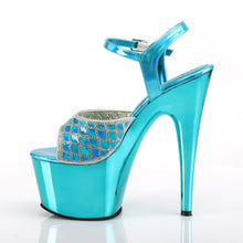 "Load image into Gallery viewer, ADORE-709MMRS 7"" Heel Turquoise Hologram Pole Dancer Sandals"
