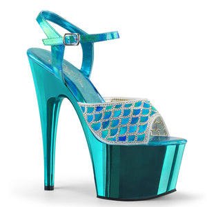 ADORE-709MMRS Black Sexy Shoes 7 Inch Heel Chrome Platforms Ankle Strap Rhinestone Mermaid Sandals for Stripping Online