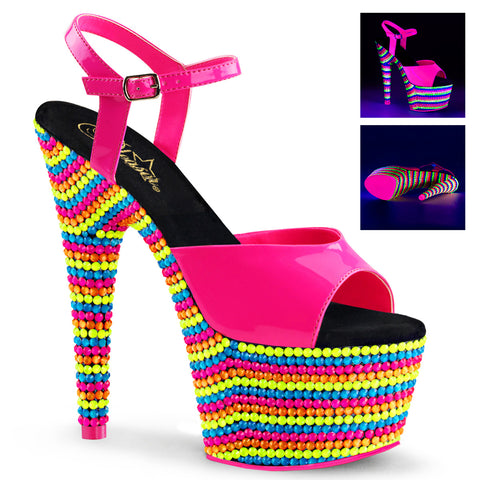 ADORE-709RBS Sexy Neon Sandals Features Pleaser Shoes with Neon Beads - Miss Hollywood - 1