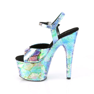 "ADORE-709SP 7"" Heel Blue Holo Snake Print Pole Dancing Shoes"
