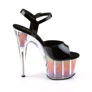 ADORE-709SRS 7 Inch Heel Black Neon Multi Pole Dancing Shoes-Pleaser- Sexy Shoes Fetish Heels