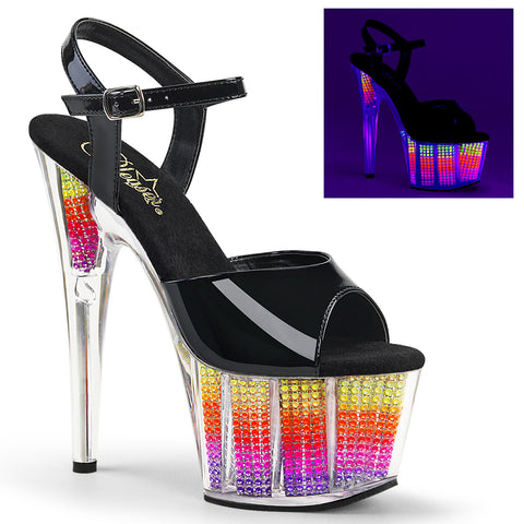 ADORE-709SRS Sexy Pleaser Shoes UV Bling Rhinstone 7 Inch Heel Platform Sandals - Sexy Shoes
