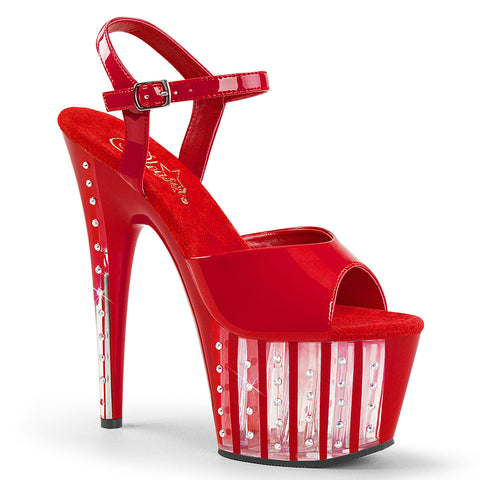 ADORE-709VLRS Pleaser Sexy Shoes 7 Inch Rhinestone Lined Heel Ankle Strap Platforms Sandals
