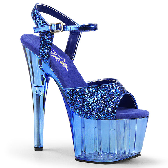 ADORE-710GT Pleaser Sexy Shoes 7 Inch Glitter Ankle Strap Tinted Platforms Sandals