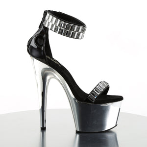 "ADORE-769RS Sexy 7"" Heel Black Silver Pole Dancer Shoes"