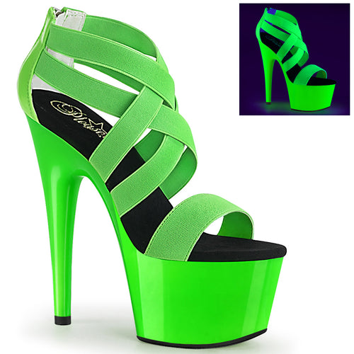ADORE-769UV Sexy Neon Green Elastic Patent Pole Dancer Shoes
