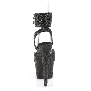 "ADORE-791LG Pleaser 7"" Heel Black Glitter Pole Dancing Shoes-Pleaser- Sexy Shoes Fetish Footwear"
