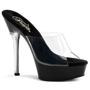 "ALLURE-601 5.5"" Heel Clear and Black Pole Dancing Shoes-Pleaser- Sexy Shoes"