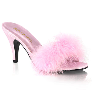 AMOUR-03 Bedroom Heels 3 Inch Classic Marabou Slipper Fluffy Sandals-Shoes-Fabulicious-Footwear Fetish-Baby Pink Satin-Fur-Miss Hollywood Sexy Shoes