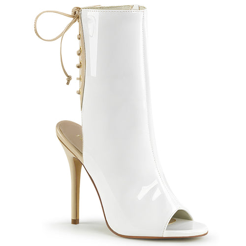 AMUSE-1018 Pleaser White Fetish Ankle Boots-Pleaser-Miss Hollywood Sexy Shoes