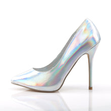 "Load image into Gallery viewer, AMUSE-20 Pleaser Sexy 5"" Heel Silver Hologram Fetish Shoes"